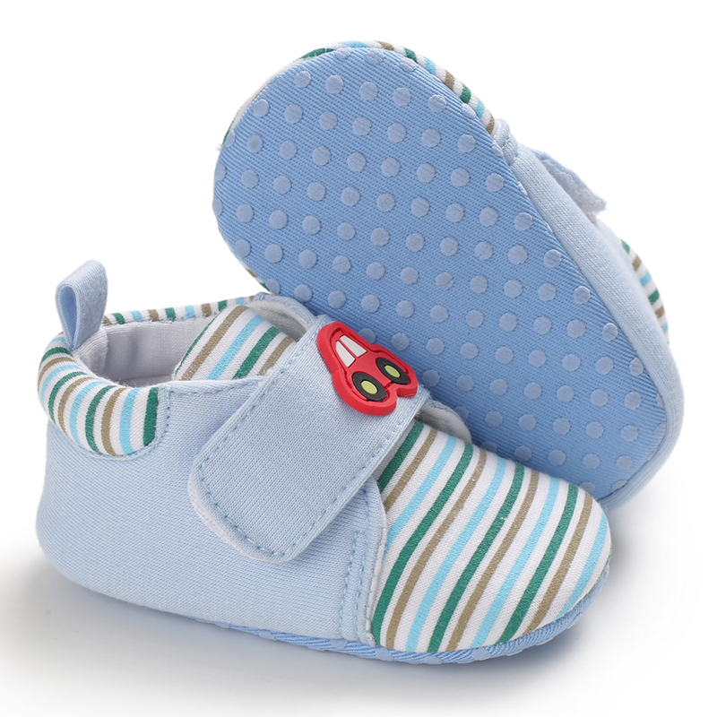 Newborn Baby Shoes Girls Boys Shoes Cartoon Car Stripe Toddler First Walk Casual Shoes Soft Soled Baby Girls Shoes Sneakers