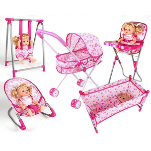 Simulation Newborn Baby Toddler Fun Play Pretend Furniture Pink High Chair Model for Reborn Dolls Supplies