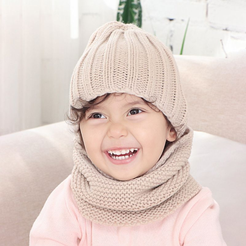 Infant Baby Crochet Knitted Hat Infinite Scarf Set Soft Neck Warmer Cap 0-3 Year