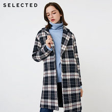 SELECTED Autumn and winter new women's with wool contrast plaid woolen coat S |418427512(China)
