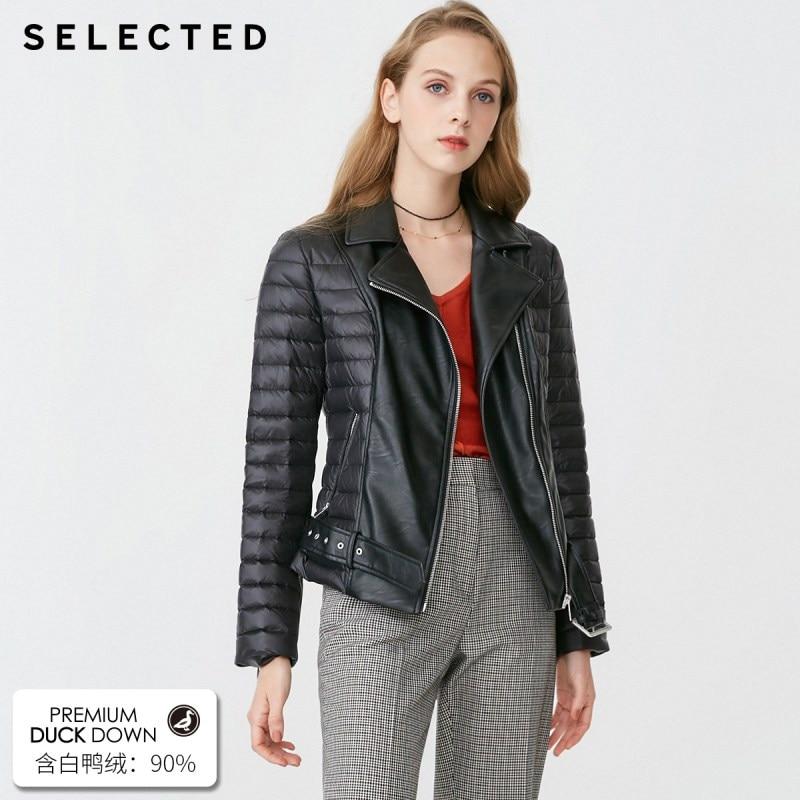 SELECTED Women's Winter Black Spliced White Duck Down Jacket S 419112505