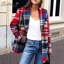 Sollinarry, уличная одежда, клетчатый женский пиджак и куртки, одинарный, на осень, Красный Блейзер, зимний женский повседневный пиджак, винтажны...