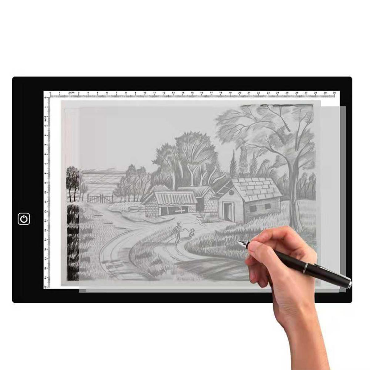 A3 A4 A5 Graphic Tablet LED Tracing Light Box Ultra Thin Stepless Dimmable Brightness Artcraft Light Table Pad Board with Scale