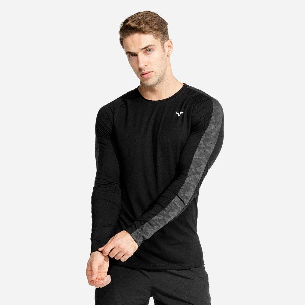 Running Sport T Shirt Men Quick Dry Long Sleeve T-shirt Gym Fitness Bodybuilding Skinny Tees Tops Male Jogging Training Clothing