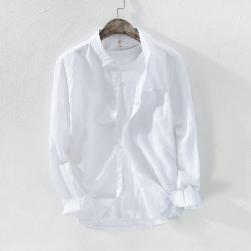 2020 Summer New Mens Luxury Cotton Linen Casual Shirts Beach Designer Long Sleeved Top Business Male Work Single Breasted Shirts