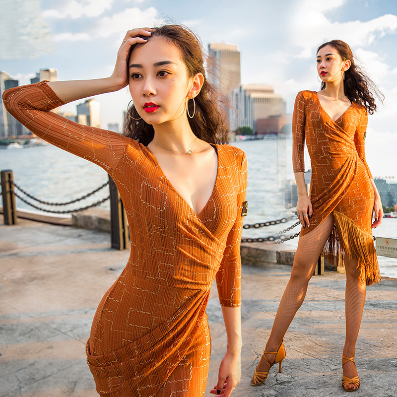 Fashion Latin Dance Dress Women  Samba Rumba Ballroom Practice Wear Lady Tango Salsa Cha Cha Fringe Performance Dresses DC4137