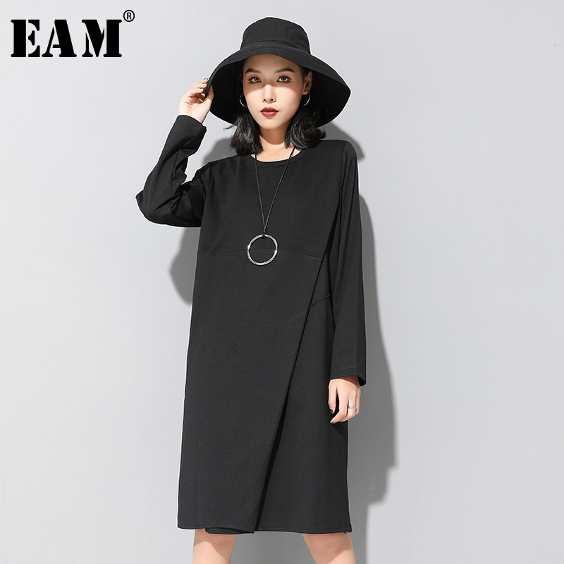 [EAM] Women Black Brief Split Joint Temperament Dress New Round Neck Long Sleeve Loose Fit Fashion Spring Autumn 2020 1N7910