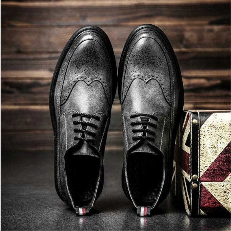 New Arrival Retro Bullock Design Men Classic Business Formal Shoes Pointed Toe Leather Shoes Men Oxford Dress Shoes Z-79