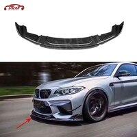 2 serie Carbon Fiber Car Front bumper Lip Spoiler für BMW F87 M2 2015-2018 Auto Styling Faser Glas