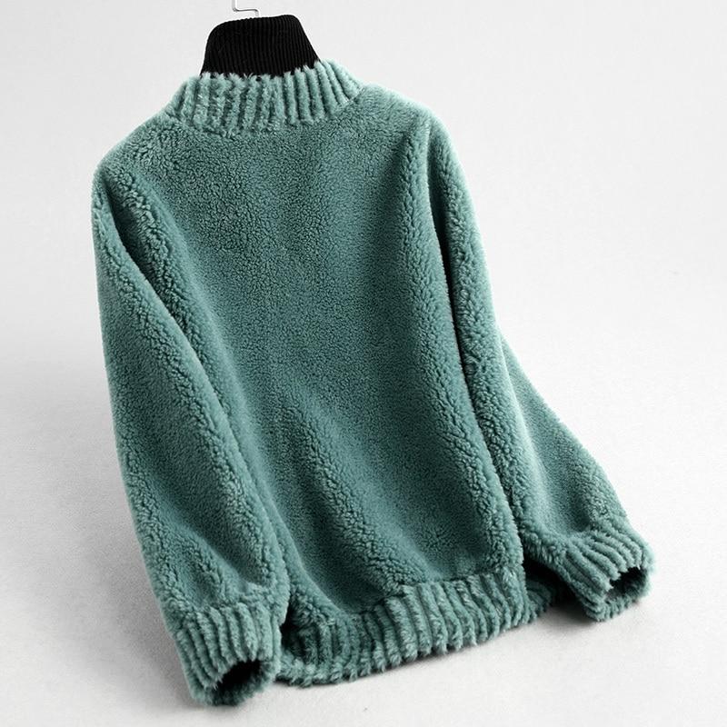 Winter Brand Real Fur Coat Women Clothes 2020 Korean Vintage Casual Slim Shorts Wool Jacket Elegant Ladies Coats 59341 S
