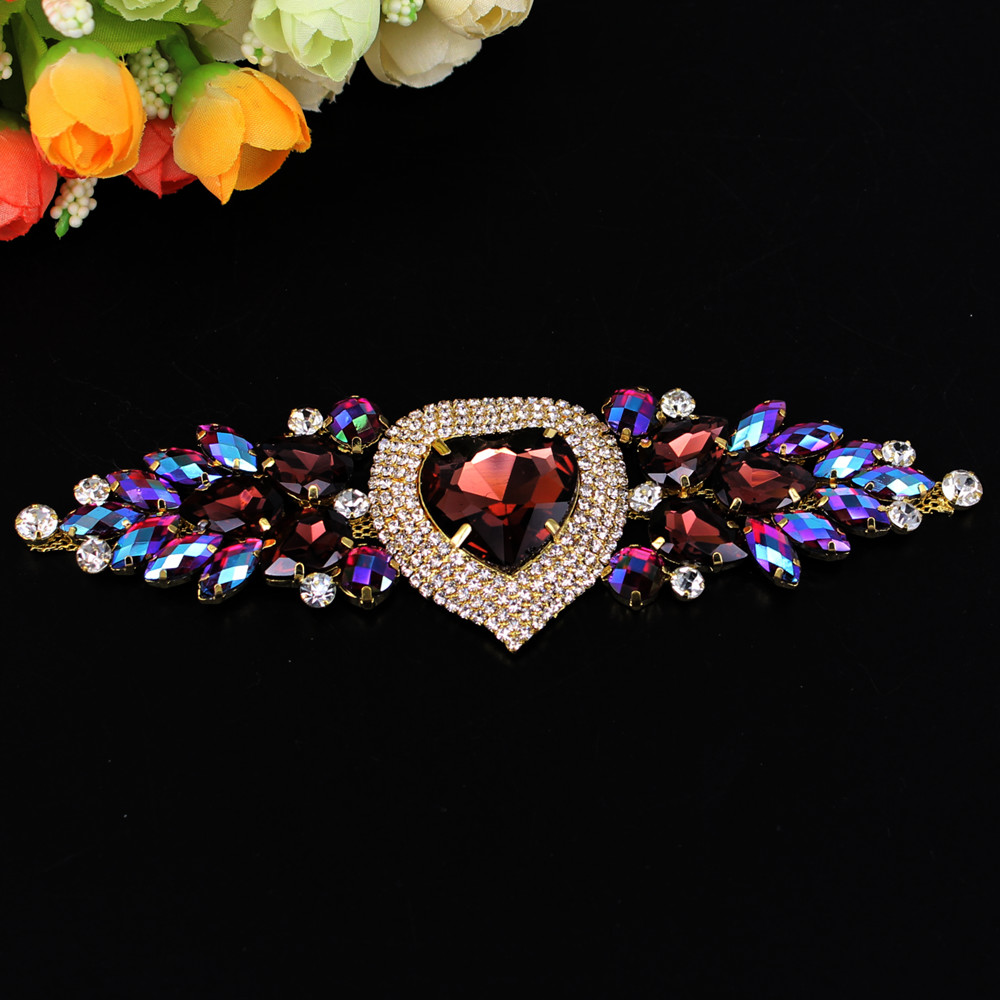 1 Pcs 17x5CM Heart Shape Sewing On Rhinestones Applique For Wedding Evening Dress Gold Crystal DIY Sewing Decoration Crafts