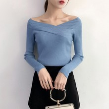 Women Long Sleeves Pullover Autumn Winter Shirt Sexy V-Neck Sweater Fashion Jumper yellow sexy pullover bat sleeves loose jumper