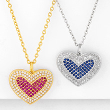 ZHONGVI Micro Paved CZ Stone Necklaces For Women CZ Gold Filled Red Heart Necklace Pendant Cubic Zirconia Fashion Jewelry