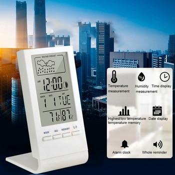Thermometer Hygrometer Gauge Indicator Indoor/Temperature Humidity Monitor Clock Outdoor Weather Sta