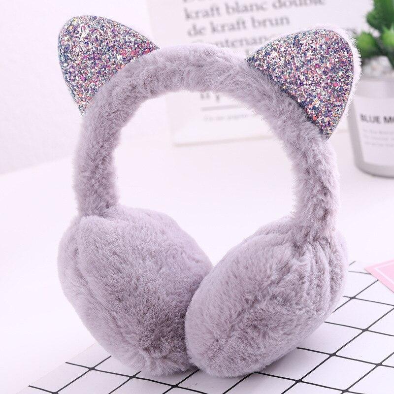 Fur Earmuffs Headwear Hang-Ear-Cover Cold-Ear-Warmer Ear-Protection Fold Cartoon Female