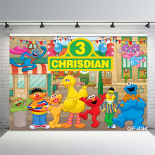Elmo Birthday Party Backdrops Sesame Street Brick Wall Kids Baby Shower Newborn Photography Backgrounds Custom