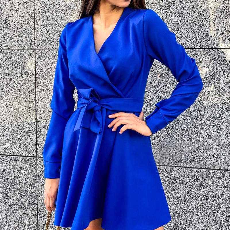 Women Sashes Bow Tie A Line Party Dress Ladies Long Sleeve V Neck Elegant Sexy Dress 2019 New Fashion Winter Dress Mini Dress