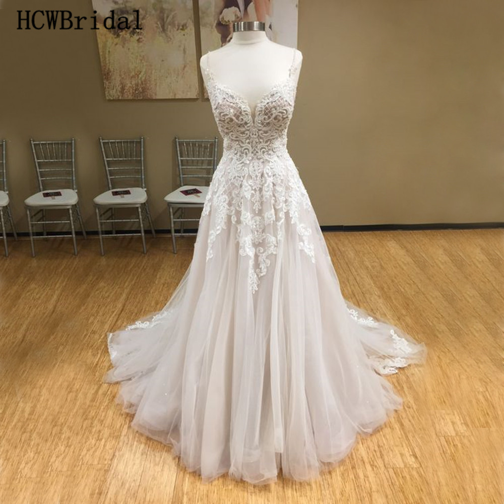 Real Photos Lace Wedding Dresses A Line Spaghetti Strap Backless Ivory Tulle Bridal Dress Custom Made Vestido De Casamento