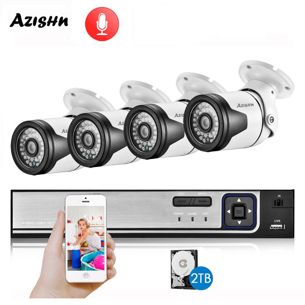 AZISHN H.265AI 4CH POE CCTV Security System NVR Kit 5MP 4MP 2MP PoE IP Camera Audio 36IR Outdoor IP66 P2P Video Surveillance Set