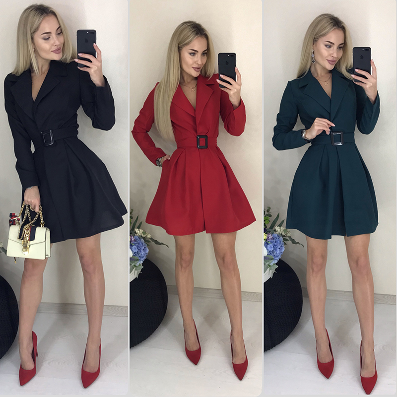 Women Vintage Sashes Sexy Mini Party Dress Long Sleeve V Neck Solid Elegant Casual A-line Dress 2019 Autumn New Fashion Dress