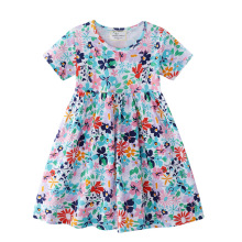 Kids Dresses for Girls Short Sleeve Floral Print Dress Princess Dress Children Clothes Baby Cotton Princess Dress Outfits 2019 kids girl sleeveless dress summer girls prined flower dresses children clothes baby cotton princess dress outfits