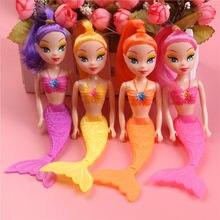Boneca sereia para meninas, brinquedo à prova d' água para banho, piscina, bonecas de sereia, presente para nascimento, 16cm, princesa, crianças, educacional brinquedo,