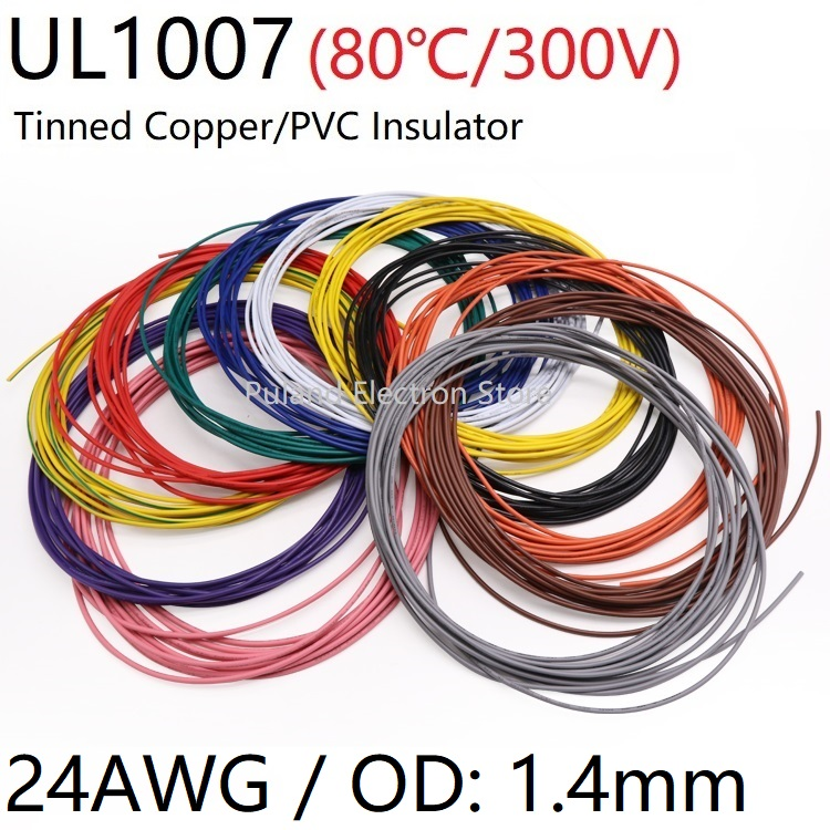 <font><b>UL1007</b></font> PVC Wire 24AWG OD 1.4mm Insulated OFC Tinned Copper Electron Conductor Cable Lamp Environmental DIY Line Colorful 300V image