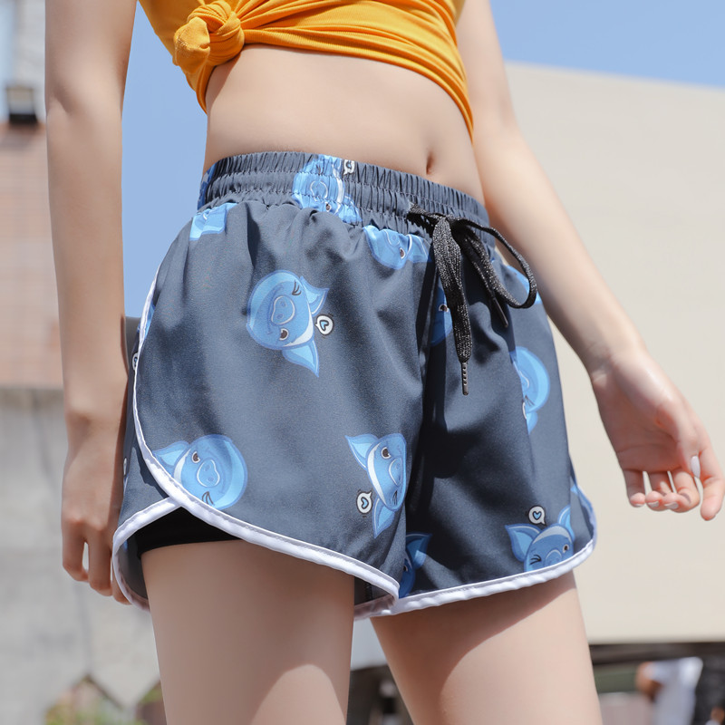 Fashion Printed Running Shorts Women Wear Anti-glare Gym Fast Drying Breathable Lady Hot Shorts Outside In Summer