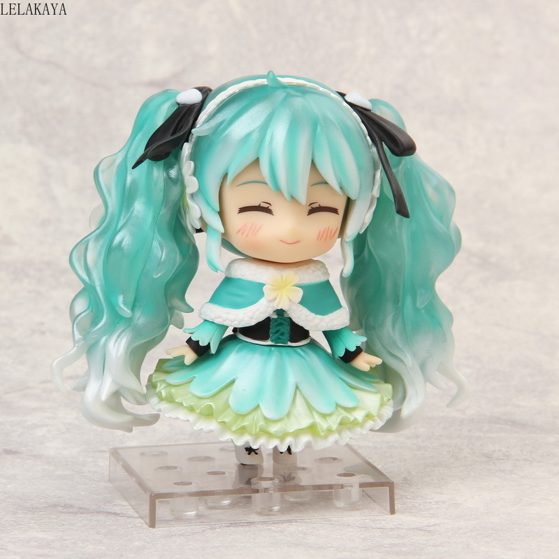 10cm Anime VOCALOID Hatsune Miku Nendoroid 047# 2015 Snow Miku Ver PVC Action Figure Model Collection Mini Small Brinquedos Doll image