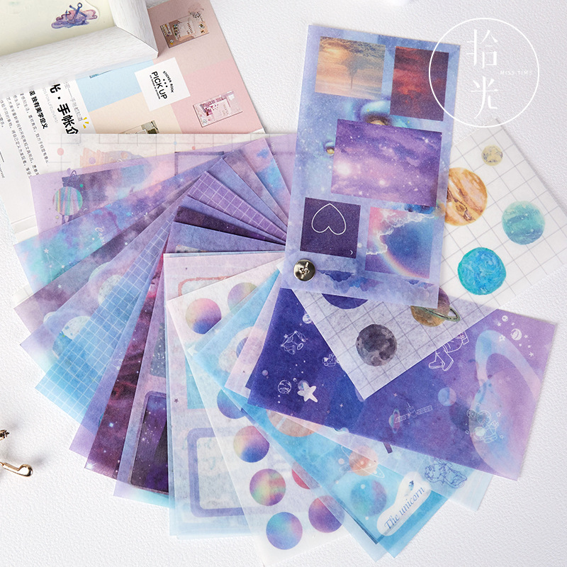 20 Sheets/pack Plants & Planets Landscape Scrapbooking Stickers Aesthetic Paper Sticker Flakes Stationary Office Accessories Art