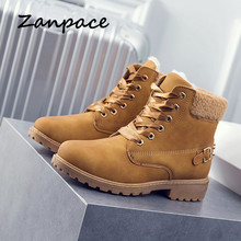 Купить с кэшбэком ZANPCE Winter Boots Women Large Size 43 Fashion Leather Women Snow Boots Keep Warm Plush Wmen Flat Ankle Boots Lace-Up Shoes