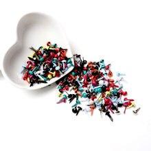 Mixed Pastell Runde Brads Scrapbooking Verschönerung Verschluss Brads Metall Handwerk Für Diy schuhe Dekoration Spikes 5X10mm 100PCs