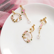 Korean version funny creative cat asymmetrical flower earrings sweet girl gift women jewelry