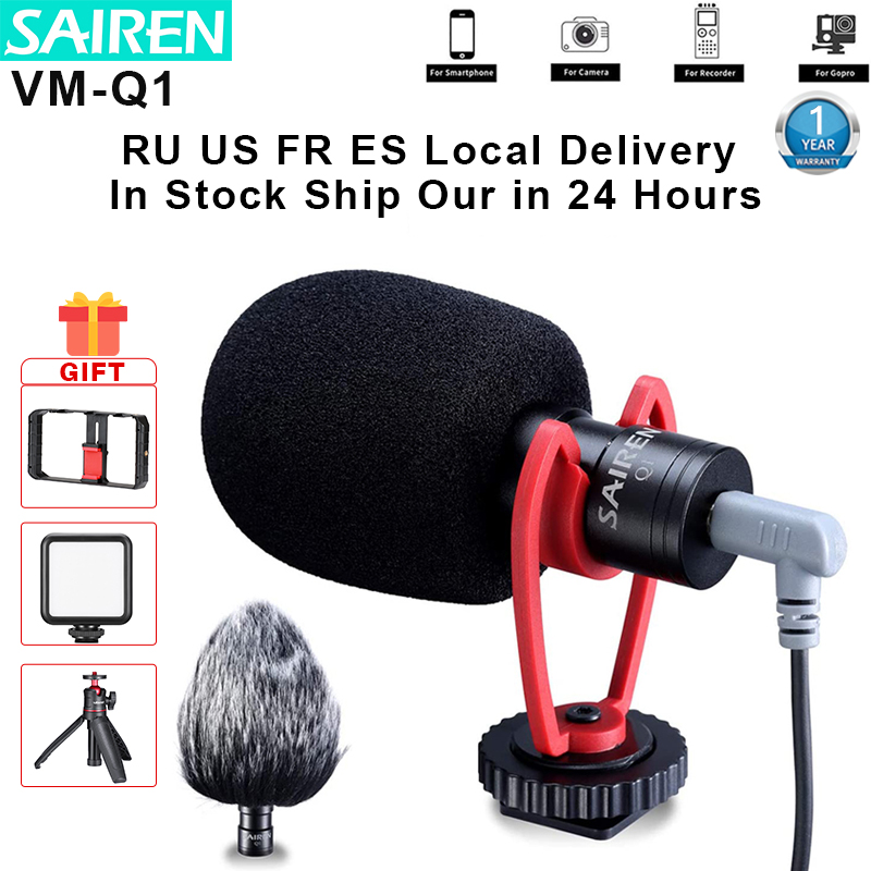 SAIREN VM Q1 3.5MM Shotgun Video Microphone Record for DSLR Camera Gimbal Smartphone Osmo Pocket Youtube Vlog Mic iPhone Android Microphones  - AliExpress
