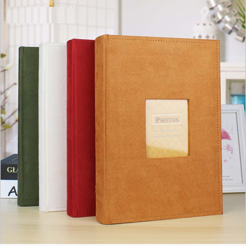 Insert 6 Inch Photo Album 300 Photos Commemorative Album 4 Colors Flannel Cover With Note Creative Gift Storage  Can Be Written