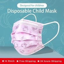 10-200 crianças dos pces máscara protetora descartável filtro de 3 camadas dustproof dos desenhos animados kitty boca máscara protetora crianças mascarillas mondkapjes