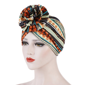 Image 2 - Helisopus Cotton Ladies Printed Headbands Chemo Cap Elastic Headscarf Women Muslim Turban Beanies Hair Accessories