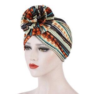 Image 2 - Helisopus algodão senhoras impresso headbands quimio boné elástico headscarf feminino muçulmano turbante beanies cabelo acessórios