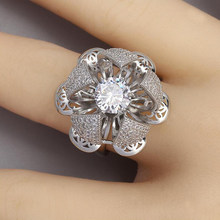 Blossom Rings For Women Rhinestone Flower Ring Fashion Party Jewelry Crystal Fingers Accessories 2021 Rose anillos