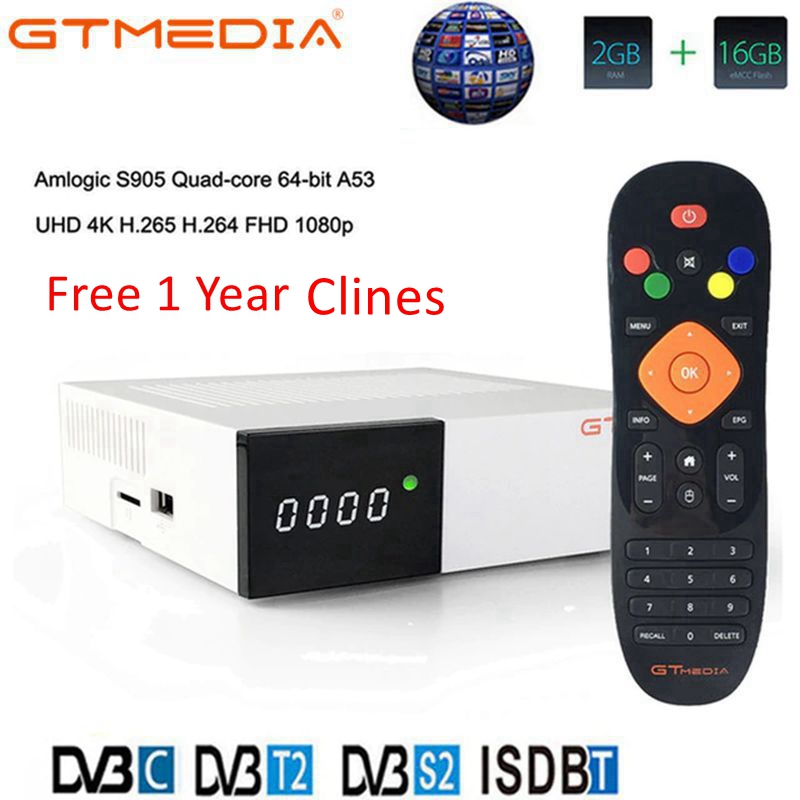 GTmedia GTC Receptor Android 6.0 TV BOX DVB-S2 DVB-C DVB-T2 Amlogic S905D 2GB 16GB +1 Year Clines Satellite TV Receiver TV Box