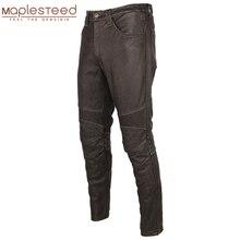 Dellannata di modo Nero di Cuoio Degli Uomini della Mutanda di Spessore 100% Naturale Della Pelle Bovina Moto Biker Pantaloni Moto Pantaloni di Protezione Disponibile Dello M350