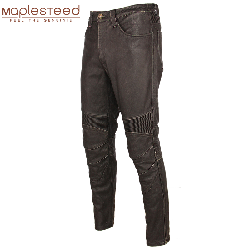 Fashion Vintage Black Men Leather Pant Thick 100% Natural Cowhide Motorcycle Biker Trousers Moto Pants Protector Available M350