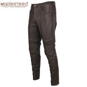 Image 1 - Pantalón de cuero negro Vintage para hombre, pantalón grueso para motorista, 100% Piel de vaca Natural, pantalones estilo motero Protector, M350
