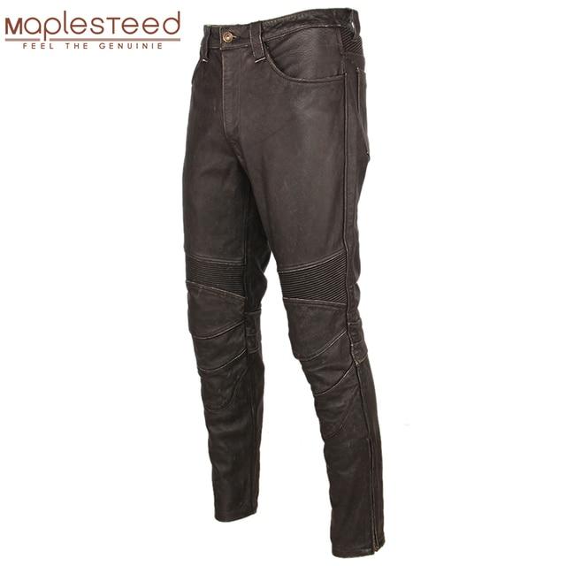 Pantalón de cuero negro Vintage para hombre, pantalón grueso para motorista, 100% Piel de vaca Natural, pantalones estilo motero Protector, M350
