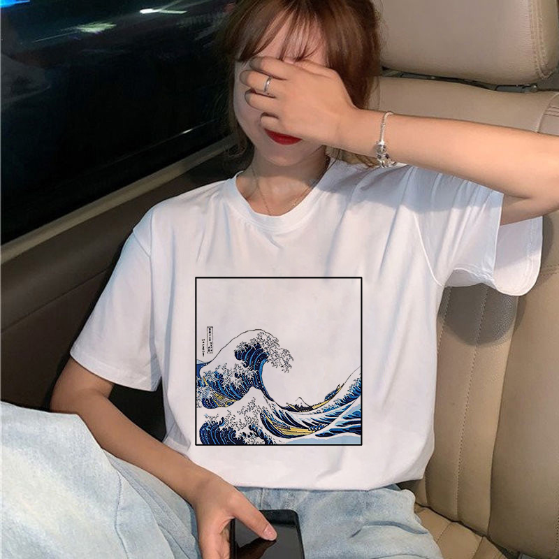 New Summer Women T-Shirt And So It Is Ocean The Great Wave Of Aesthetic Tshirts Sexy Short-sleeved O-neck Woman Clothes Tops
