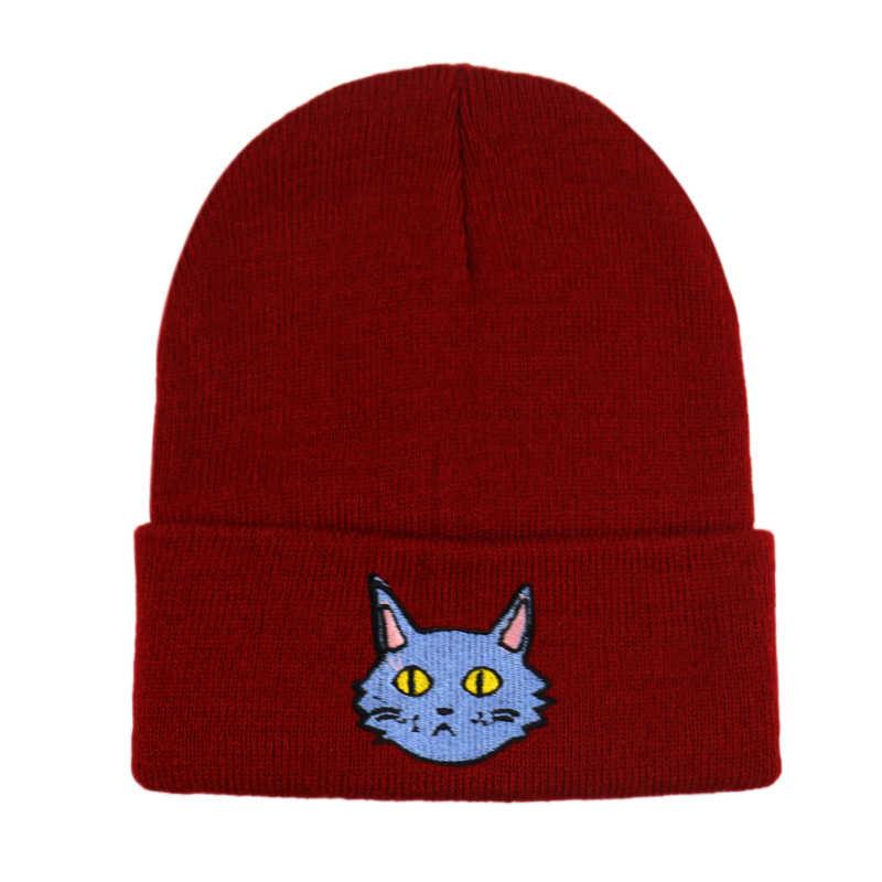 FOXMOTHER النساء محبوك سميكة قبعة القط طباعة قبعة الشتاء بونيه القبعات قبعات الشتاء الدافئ قبعة الإناث Skullies بيني