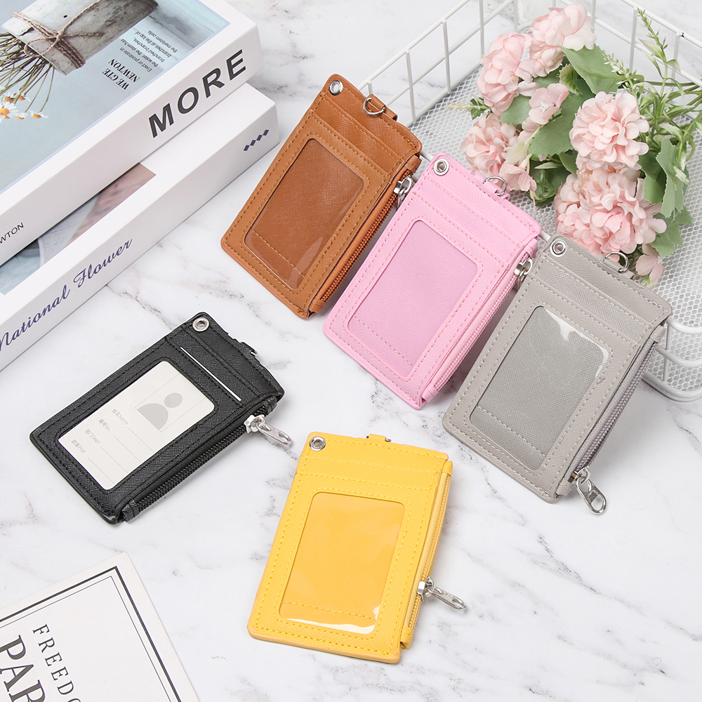 1Pcs Portable Leather Business ID Card Credit Badge Holder Coin Purse Wallet Keychain Unisex Women Men Credit ID Card Holders