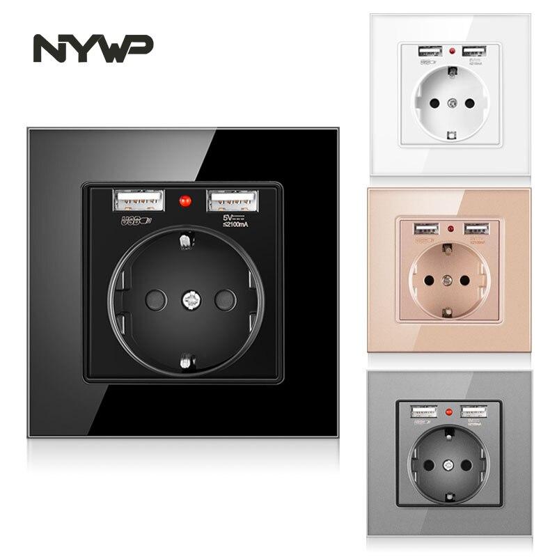 NYWP EU power socket, plug with 2.1a 16A USB charging port, glass panel, Russian Spanish power socket