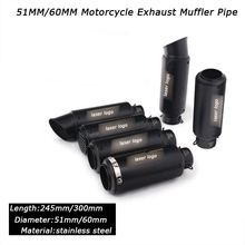 цена на Black Stainless Steel Exhaust Muffler Pipe DB Killer Silp On 51mm 60mm Motorcycle Exhaust System