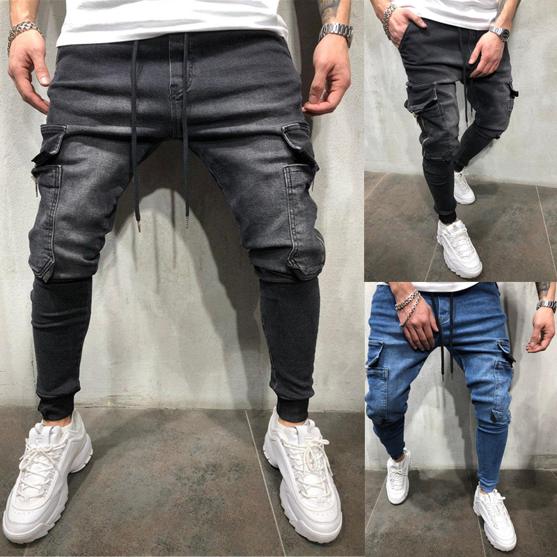OLOME 2019 Mens Denim Cargo Pants Jeans Hip Hop With Side Cargo Pocket Tight Jeans Men Slim Fit Fashion Long Trousers